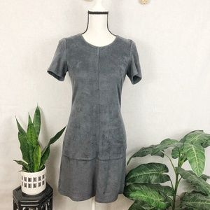Lord & Taylor gray faux suede mini shift dress